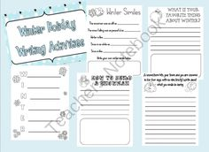 This Winter Writing Packet includes writing prompts, How To writing, an acrostic poem, and winter themed similes! Teachers Notebook