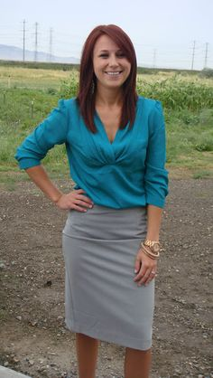 BP Fashion: Emerald Top and Grey Pencil Skirt