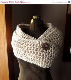 Long Loop Circle Scarf in Cream Chunky Crochet Wrap or Cowl