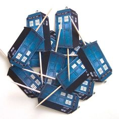 Dr Who Tardis Cupcake Toppers  Set of 12 Picks by TheBlissfulBaker, $8.00