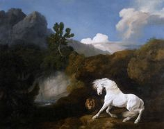 George Stubbs (1724-1806), Horse frightened by a lion (detail), 1770.