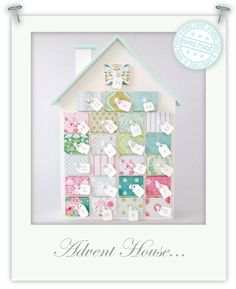 Advent house covered with scraps of wallpaper/scrapbook paper/fabric. Noel Christmas, Christmas Crafts, Christmas Decorations, Xmas, Holiday Decor, White Christmas, Christmas Ideas, Advent Calendar House, Advent House