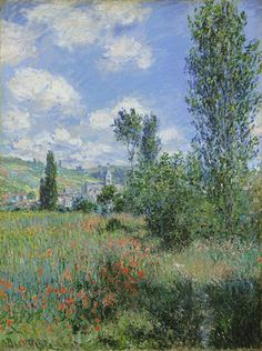 View of Vétheuil, 1880, Claude Monet (1840-1926).  During summer 1880, Monet painted twenty-six views of the area around the village of Vétheuil. Six were painted from the Île Saint-Martin, one of the many nearby islands in the Seine. In this example, Vétheuil may be seen in the background. In 1881, Monet returned to the site and painted the view twice more.