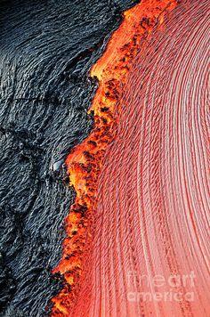 River of molten lava