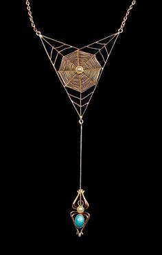 Murle Bennett Art Nouveau spider web neclace, ca 1900