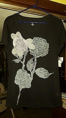 BELK madison woman 1x black NWT grey flower short sleeve shirt