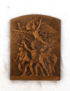 Vintage-French-Art-Nouveu-Bronze-Victory-Revolutionary-Plaque-by-DUBOIS-Medal