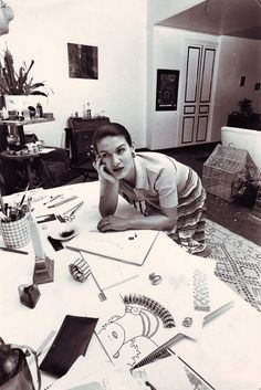 Working girl Paloma Picasso #girlboss {a vintage Beni Ourain carpet in her studio}