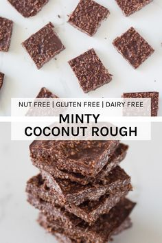 Minty Coconut Rough is SERIOUSLY the yummiest raw chocolate. Only takes a couple of minutes to make and minutes to set. I have also included the thermomix version. Yummy Healthy Snacks, Healthy Treats, Healthy Desserts, Raw Food Recipes, Baking Recipes, Sweet Recipes, Yummy Treats, Sweet Treats, Dessert Recipes