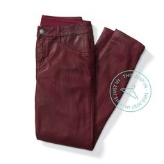 Diversify your denim. Coated jeans in a cool color, like oxblood, adds richness to everyday outfits. #trendalert