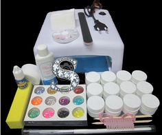 High quality Pro Full 36W White Cure Lamp Dryer & 12 Color UV Gel Nail Art Tools Sets Kits free shipping