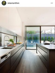 Sleek, modern kitchen. Flat panel cabinets and drawers with no hardware.