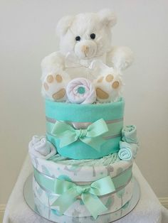 Baby Neutral Mint Nappy Cake