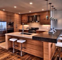 A Big Kitchen interior design will not be hard with our clever tips and design i. CLICK Image for full details A Big Kitchen interior design will not be hard with our clever tips and design ideas. More kitchen and other. Luxury Kitchens, Cool Kitchens, Modern Kitchens, Kitchen Modern, Minimal Kitchen, Modern Kitchen Designs, Functional Kitchen, Stylish Kitchen, Modern Homes