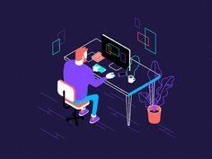 Man at Desk by Pat Grivet #Design Popular #Dribbble #shots