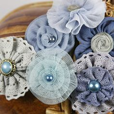 Prima Flowers: 3 SETS of Madrigal Blossom Nocturne blue shabby chic Silk fabric Flowers with pearl button brad  center