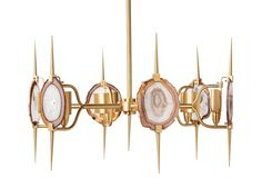 $3250 Eclipse Agate Chandelier, Gold - emporium home