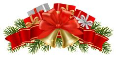Transparent Christmas Decor with Bells PNG Clipart
