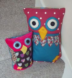 Applique owls cushion and doorstop