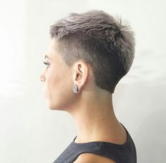 Revealed fade by Caitlin Senna Continue reading by clicking the image or link, or why not visit us in person at our salon for more great inspirational hair ideas. Super Short Hair, Short Grey Hair, Short Hair Cuts, Short Hair Styles, Very Short Haircuts, Short Hairstyles For Women, Cool Hairstyles, Haircut Styles For Women, Pelo Pixie
