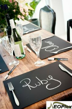 Create these chalkboard place mats for any occasion using our chalkboard and liquid chalk markers. #Neoplex #Crafts #Chalkboard #LiquidChalkMarkers #DIY #PlaceMat #TableSetting #Kids