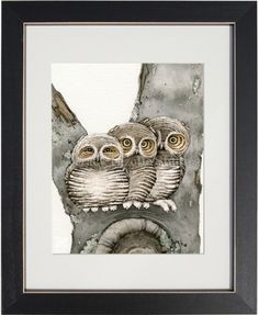 This owl art watercolor painting of Three Small Owls is available at: http://www.tracylizottestudios.com/index.php/shop/prints/animal-tree-collection/product/62-three-small-owls