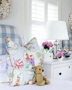 A blue chinoiserie pillow complements a twin bed fitted with a blue plaid headboard, while a window is located over a white dresser lit by a chinoiserie lamp. Girls Bedroom, Bedroom Decor, Bedroom Ideas, Extra Bedroom, Master Bedroom, Big Girl Rooms, Kids Rooms, Maine House, Up Girl
