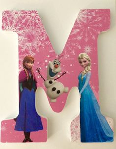 Custom wooden letters hanging Frozen Anna Elsa Olaf pink by YouNameItByJessica