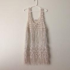 Boho white tank See through top perfect for summer!! Would look awesome with a nice bralette or tank top. Never worn.  Tops Tank Tops