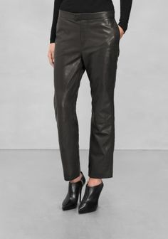 And Other Stories | Relaxed Leather Trousers | Black