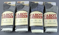 Buy our 4 Pair/Colors MEN'S Cabot & Sons Best Merino Wool Hiking Socks,10-13, only $53.95 with Free Shipping #CabotSonsVermontBrand