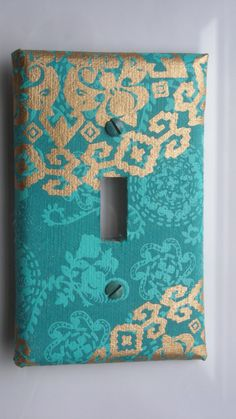 Gilded Turquoise Sari Decorative Light Switch Cover by Nikalette, $5.50