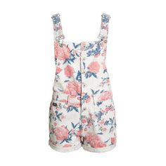 Boy Short Dungarees (1.258.605 IDR) ❤ liked on Polyvore featuring jumpsuits, rompers and white rompers