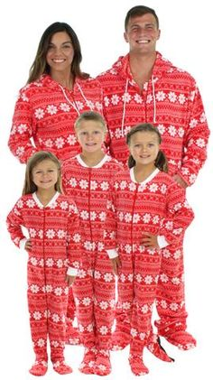 SleepytimePjs Family Matching Fleece Red Snowflake Onesie Footed Pajamas 9d5ac4c80