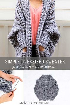 Easy, Chunky Crochet Sweater - Free Pattern from Creatively constructed from a simple rectangle, this flattering chunky crochet sweater comes together easily with no shaping.Learn how to crochet the free Dwell Sweater pattern in this video tutorial. Pull Crochet, Knit Crochet, Crochet Sweaters, Chunky Crochet Scarf, How To Crochet A Scarf, Easy Crochet Shrug, Dishcloth Crochet, Crochet Scarfs, Crochet Humor
