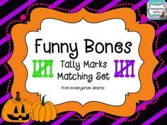Kindergarten Smarts: Funny Bones Tally Marks Matching Set mabey just print to 5 ? Kindergarten Freebies, Teaching Kindergarten, Preschool, Teaching Ideas, School Games, School Fun, School Stuff, Halloween Math, Halloween Themes