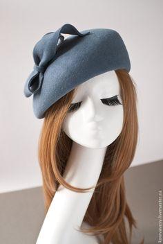 """Купить Английский берет """"Грейс"""" - серый, велюр, шляпка, женская шляпка, шляпка из велюра"""