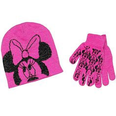 Minnie Mouse Youth Beanie Hat and Gloves Set Minnie Mouse Mickey Mouse  Clubhouse Roadster Racers Disney Junior 9d364ec60151
