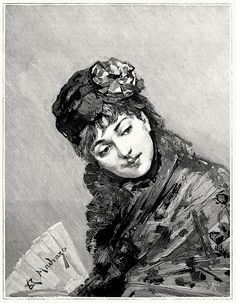 Model. From a picture by Raimundo de Madrazo y Garreta.    From The magazine of art vol. 6, London, Paris, New York, 1883.