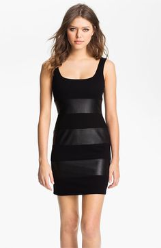 df9adcd320 B44 Dressed by Bailey 44  Little Black Dress  Faux Leather Stripe Tank Dress