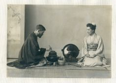 Bashford Dean and his wife enacting a tea ceremony in Japan, about 1900.