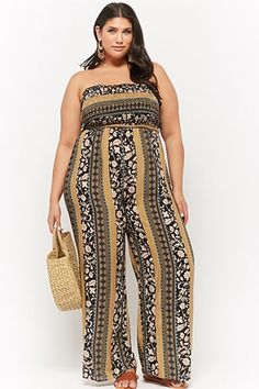 32c6c0140952 Plus Size Floral Ornate Smocked Tube Palazzo Jumpsuit Ruffle Jumpsuit