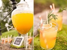 Peach and range rosemary skewers in  Sangria punch! Love the rustic orange color for a Fall Charlottesville Wedding.