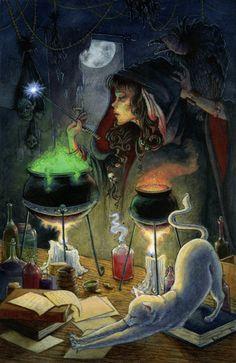 illustration drawing digital painting witch cat brewing cauldron dark magic night halloween