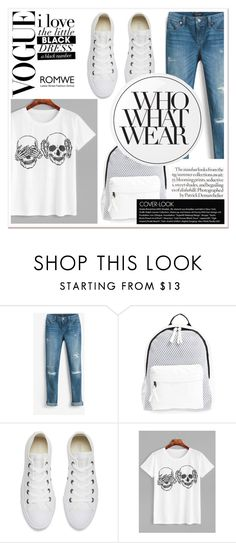"""""""White Skull Print T-shirt Romwe"""" by sandra-smileska ❤ liked on Polyvore featuring White House Black Market, Poverty Flats, Converse, Essie and Who What Wear"""