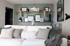 décoration salon cocooning, scandinave, moderne, minimaliste avec les couleurs Ammonite et Pigeon de Farrow & Ball