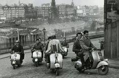 Scooter club, Edinburgh, 1950s.
