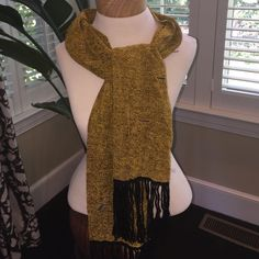 Hand woven chenille scarf. Gold and black with multi colors woven in.  Beautiful fall accessory. Accessories Scarves & Wraps
