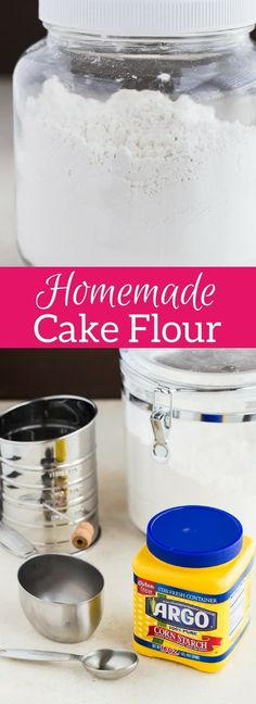 This Homemade Cake Flour is a 2-ingredient recipe that you must add to your arsenal of baking necessities. #cakeflour #bakingbasics