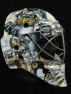 Brad Thiessen's Pittsburgh Penguins Mask Hockey Goalie, Ice Hockey, Pittsburgh Penguins, Goalie Mask, New Pen, Masked Man, Cool Masks, Buckets, Helmets